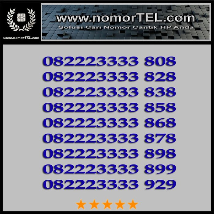 Nomor Cantik Telkomsel Simpati 082223333 XXX
