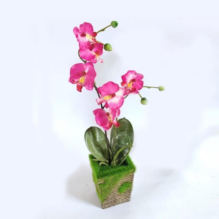 Pajangan Cantik Hiasan Dekorasi Meja Bunga Anggrek Artificial - VB34 -  Merah Muda 4093f4bed2