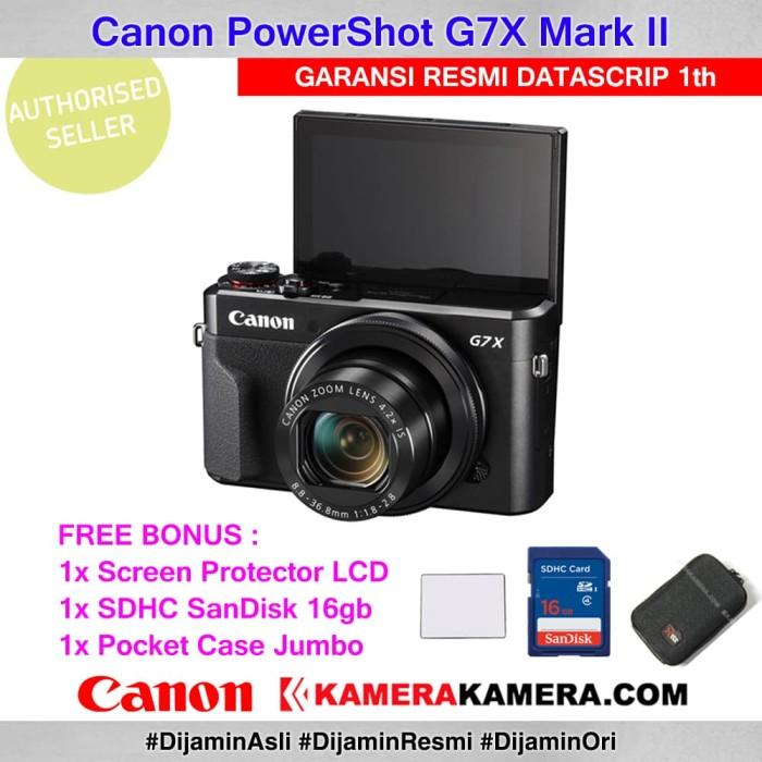 harga Canon powershot g7x ii datascrip + scrgrd + sandisk 16gb + pocket case Tokopedia.com
