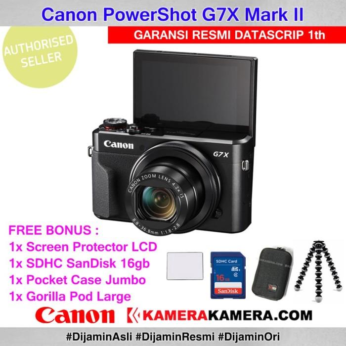 harga Canon powershot g7x ii datascrip +scrgrd +sandisk16gb +tas +gorillapod Tokopedia.com