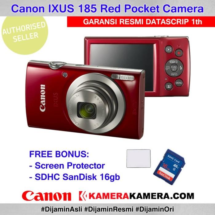 harga Canon ixus 185 red resmi datascrip + screen guard + sandisk 16gb Tokopedia.com
