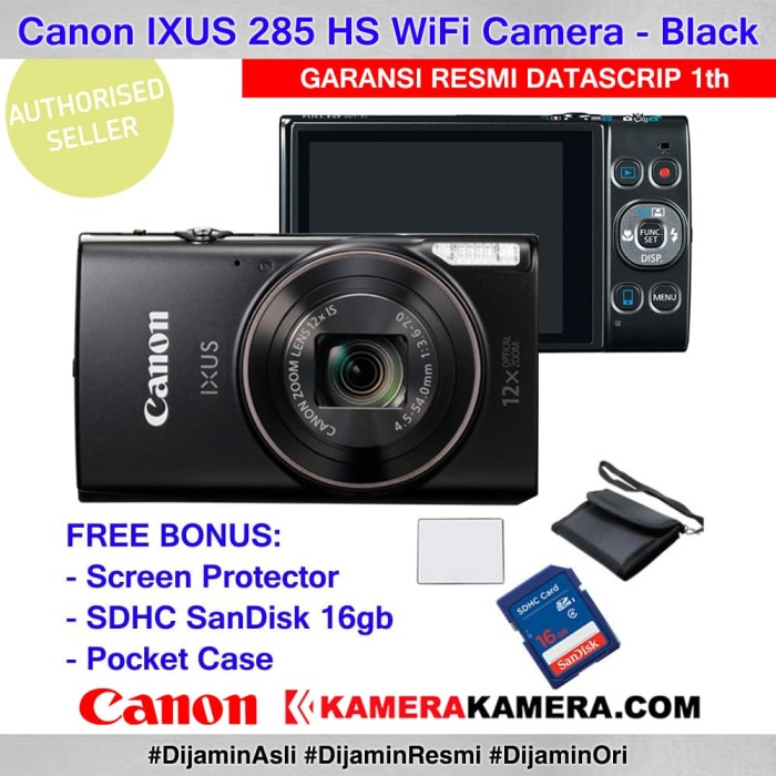 harga Canon ixus 285 hs black datascrip + screenguard + sandisk 16gb + pouch Tokopedia.com