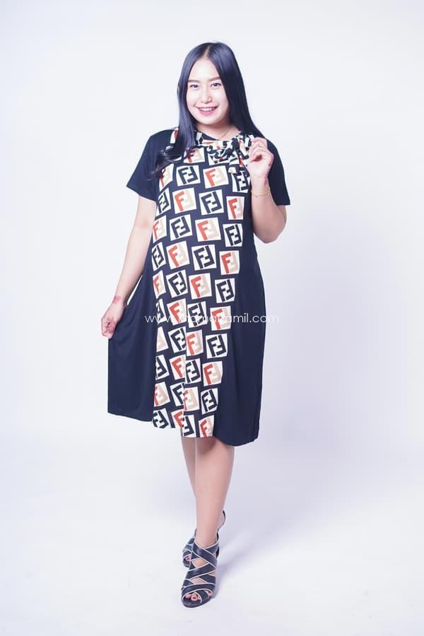 Dress Ibu Hamil Menyusui Kerah Pita Modis Terbaru Modern - DRO 945 - Biru df668e347e