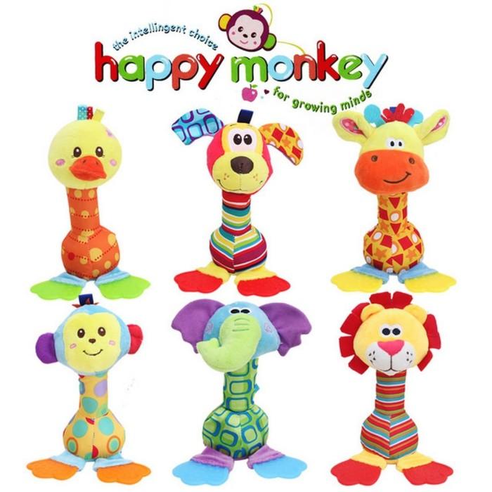 harga Rattle stick teether happy monkey mainan bayi bentuk boneka hewan - monyet Tokopedia.com
