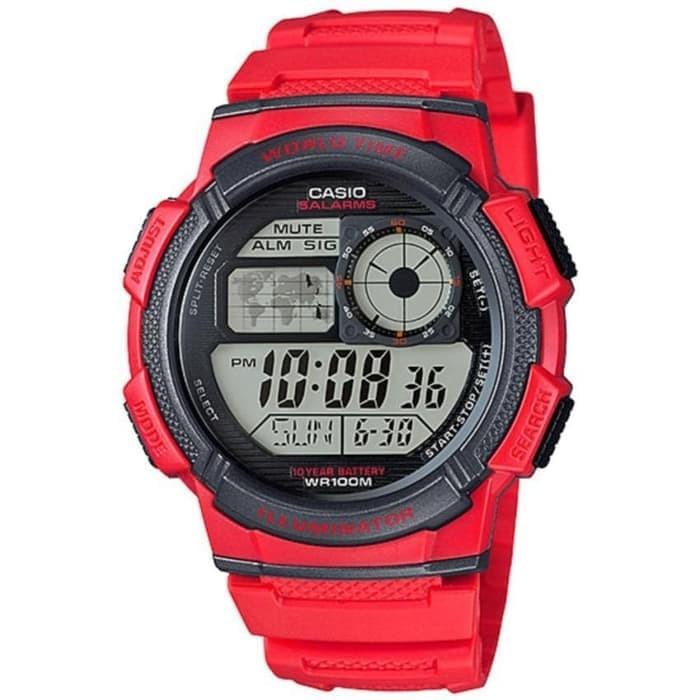 Casio Digital Jam Tangan Pria - Merah - Strap Karet - AE-1000W-4A