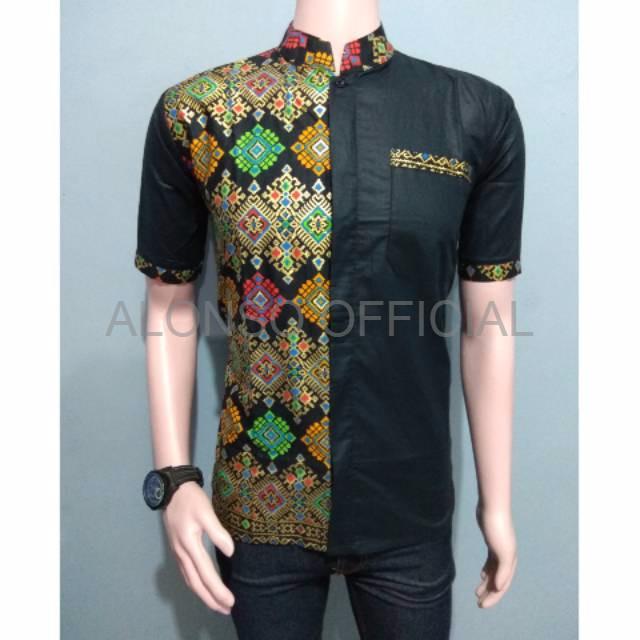 Jual Baju Batik Cowok Model Baju Batik Kombinasi Kerah Koko Dki Jakarta Alonso Official Tokopedia
