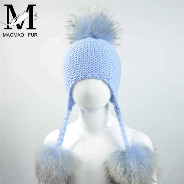 Jual Knitted Baby Hat With Three Real Fur Pompom Children Beanie Boy