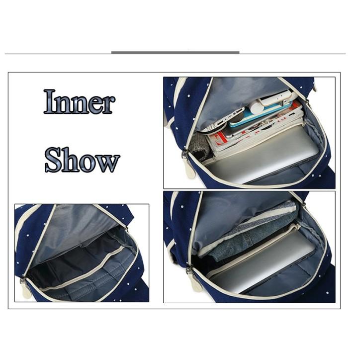 2c1b66677b Jual Women Canvas 4Pcs set School Backpacks College Schoolbag ...
