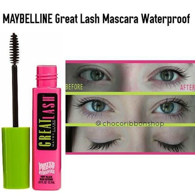 ec3bb13360a MAYBELLINE Great Lash Mascara waterproof very black 100%ORIGINAL