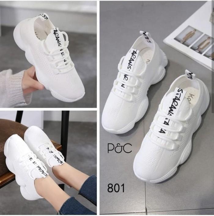 Jual Sepatu Sneakers Wanita Terbaru Kekinian Ready Warna Hitam Dan