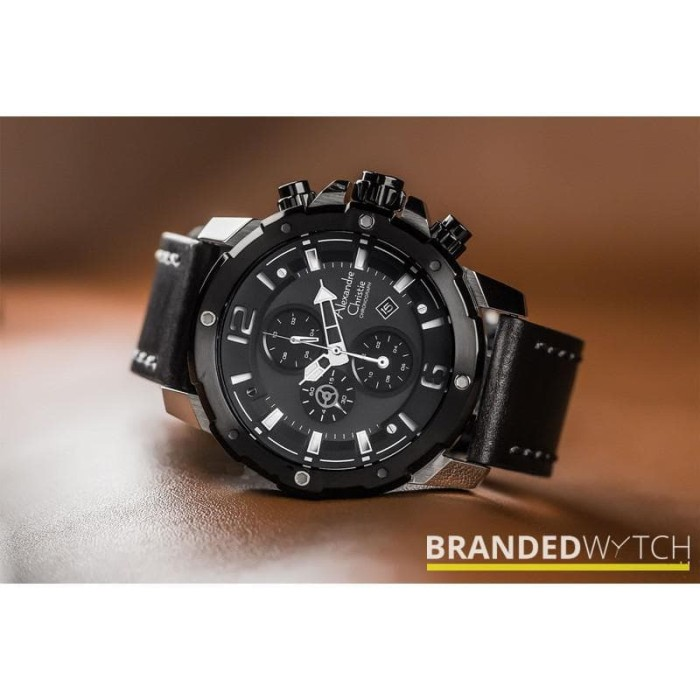 Jam Tangan Pria Alexandre Christie 6410 MCL Black Silver / Alexandre