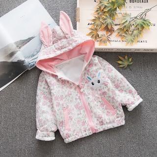 Jaket Anak Model Telinga Kelinci Cute Floral - Size M, PINK