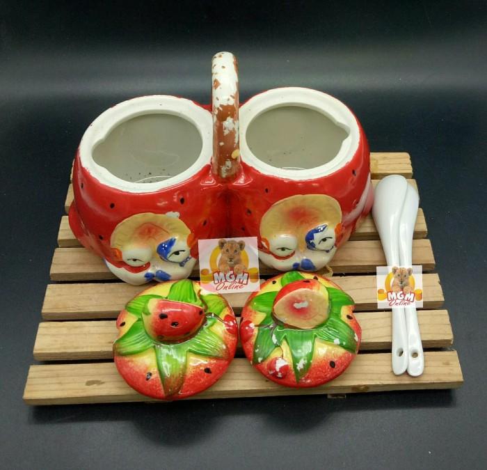 Foto Produk Keramik Tempat Sambal Twin Gagang Karakter klassic w/ Sendok Keramik dari MGM Online