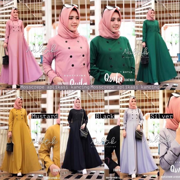 Gamis polos / Grosir dress murah / Pakaian wanita : Quila Coat Maxi G