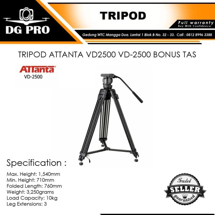 harga Tripod attanta vd2500 vd-2500 bonus tas - tripod profesional video Tokopedia.com