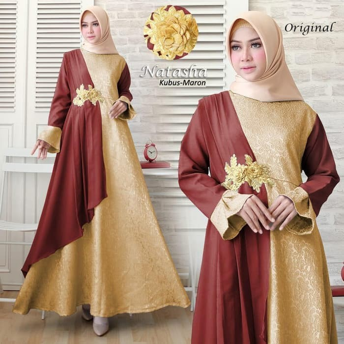 Jual Gamis Maxy Dress Pesta Hijab Natasha Selendang Kota Bandung