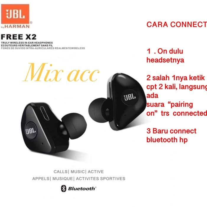 13d7d5525db Jual Headset bluetooth JBL X2 Wireless earphone bluetooth Isi 2 L R ...