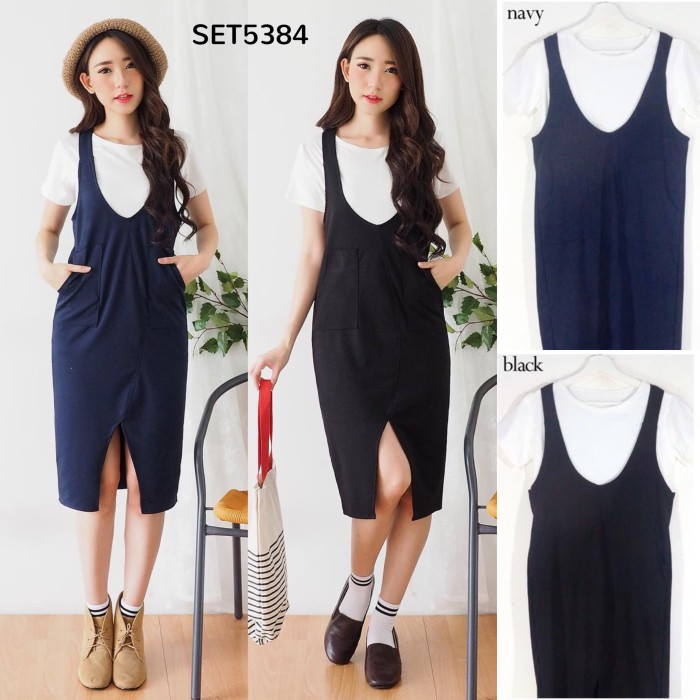 Jual Set5384 Midi Dress Kodok Dress Overall Scuba Dress Korea Dress