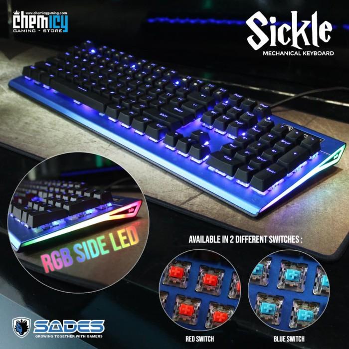 Sades Sickle Blue LED Fullsize Mechanical Gaming Keyboard - Merah