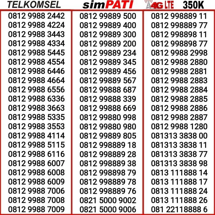 Kartu Perdana Nomor Nomer Cantik SimPati 4G AABB ABBA 998899 9898 8989