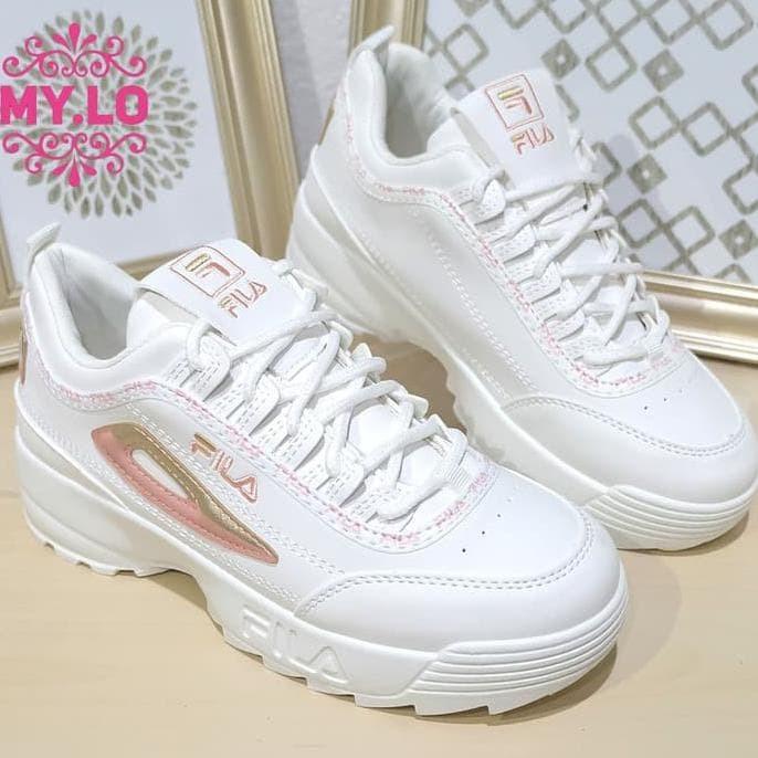 Jual Terlaris Sepatu Fila Wedges Casual Slipon Kets Putih Wanita ... e782ee3e45