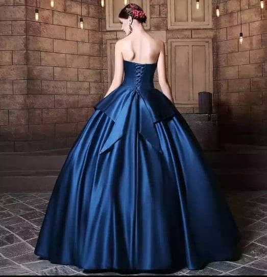 Jual Wh Wtz16128 Gaun Pengantin Wedding Dress Warna Navy Biru Import