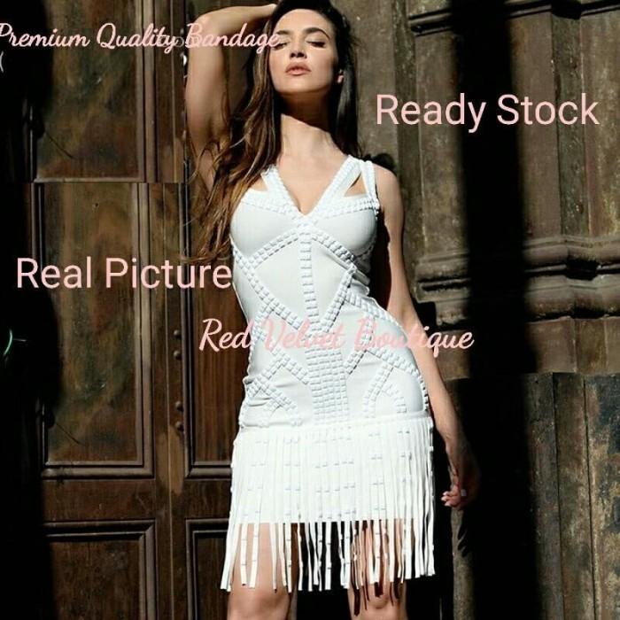 c96aae2b5f2 Jual PREMIUM BANDAGE White Beaded Tassel BALMAIN Party Thick Dress ...