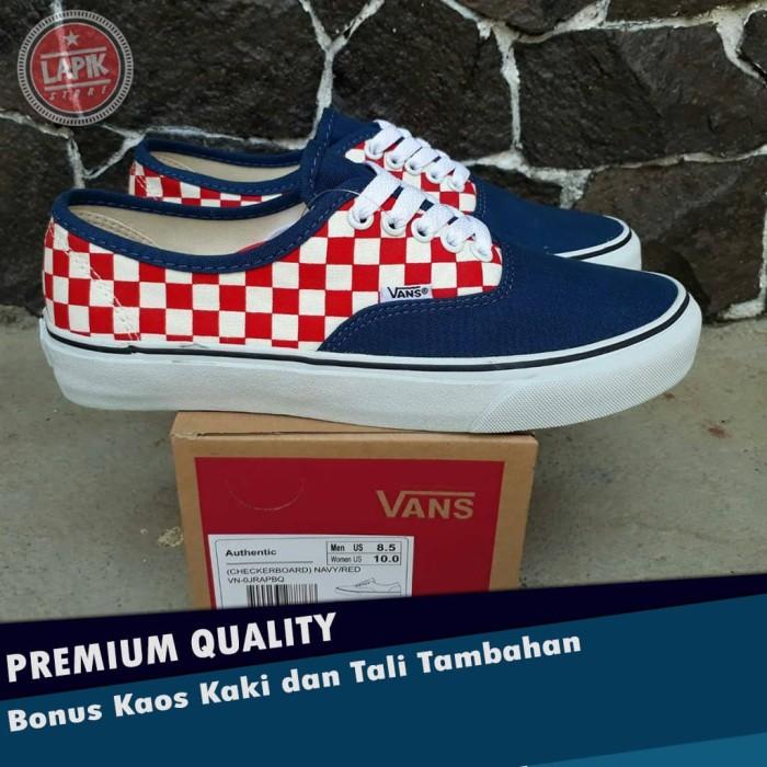 Jual Sepatu VANS AUTHENTIC (CHECKERBOARD) NAVY RED Preimum - Kota Bandung -  LAPIK | Tokopedia