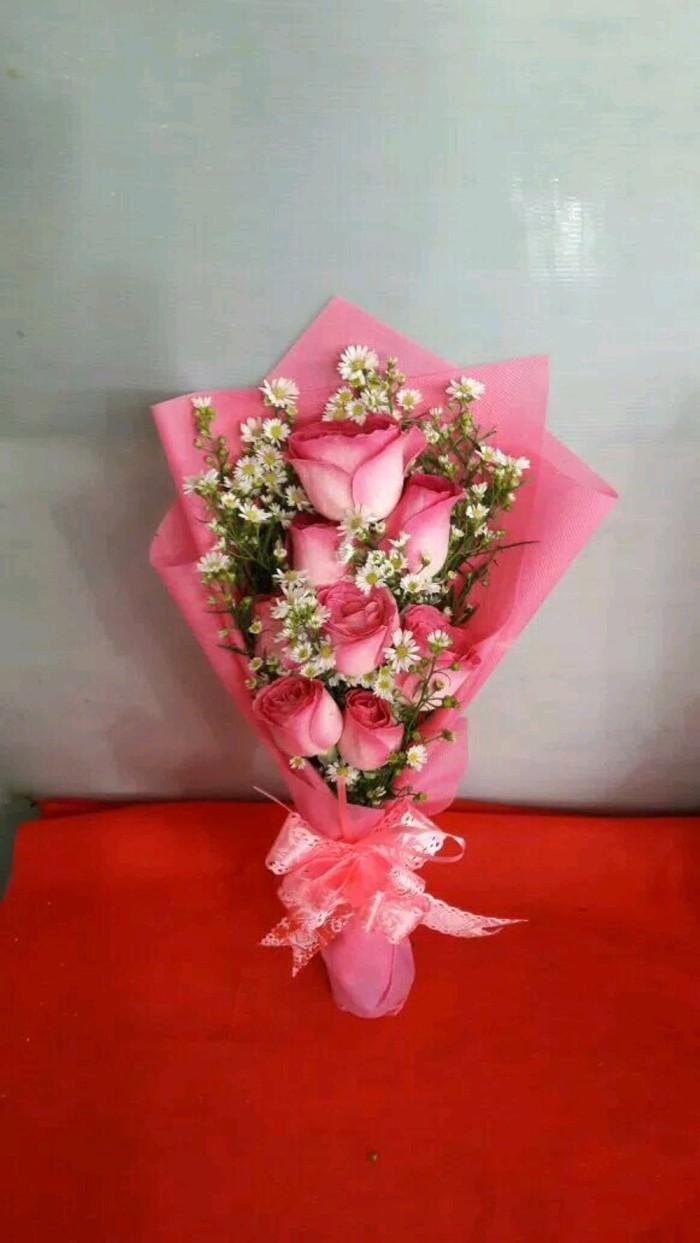 Jual ORI Buket Bunga Mawar Pink ANJE Kota Surabaya Grand Mart