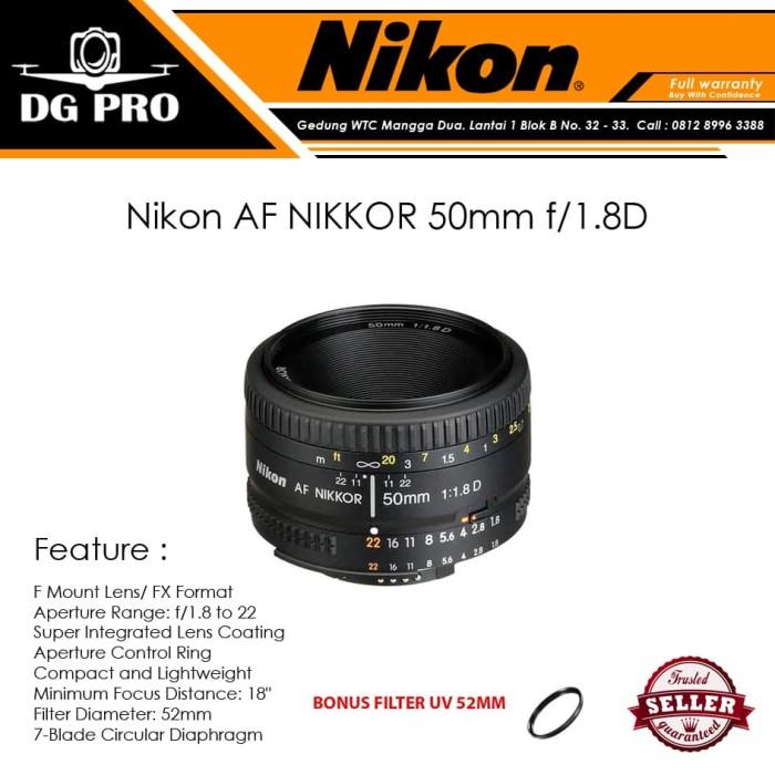 harga Nikon af nikkor 50mm f/1.8d - lensa nikon 50mm f1.8 d for kamera slr Tokopedia.com