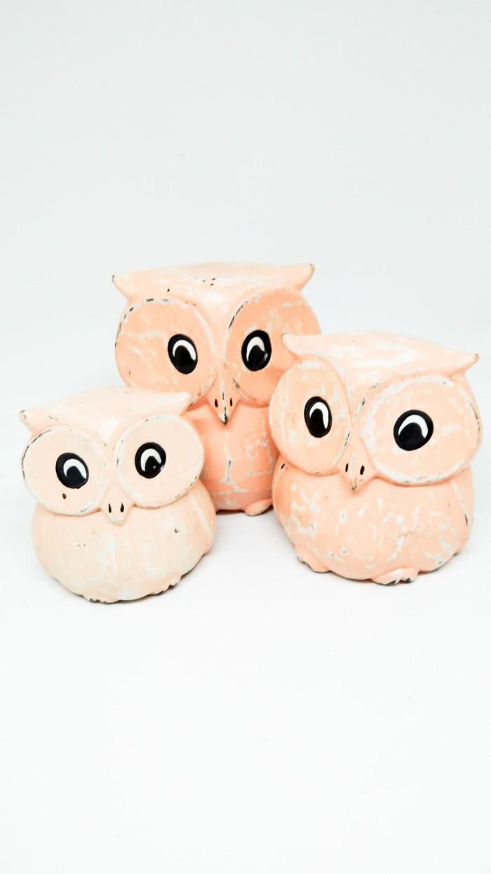 Jual Pajangan Kayu Owl 1 Set Jakarta Barat Pouffie