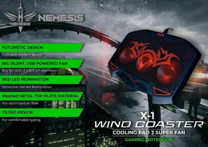 Foto Produk Cooling Pad Kipas Pendingin Laptop Wind Coaster 3 Fan LED NYK X1 dari Lightspeed