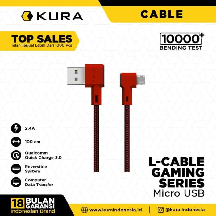 Foto Produk KURA L Cable ( Gaming Series ) - Kabel Data Micro USB - Hitam dari KURA Indonesia