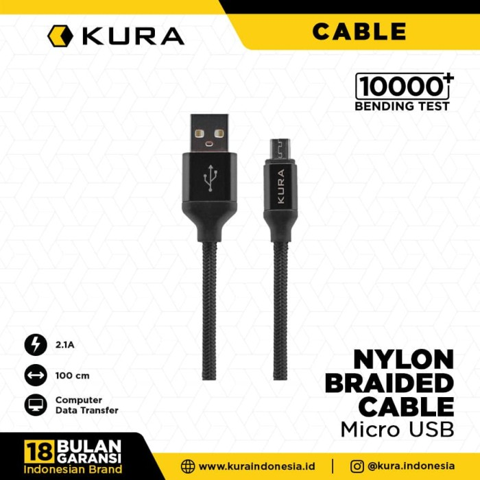 Foto Produk KURA Nylon Braided Cable - Kabel Data Micro USB - Merah dari KURA Indonesia