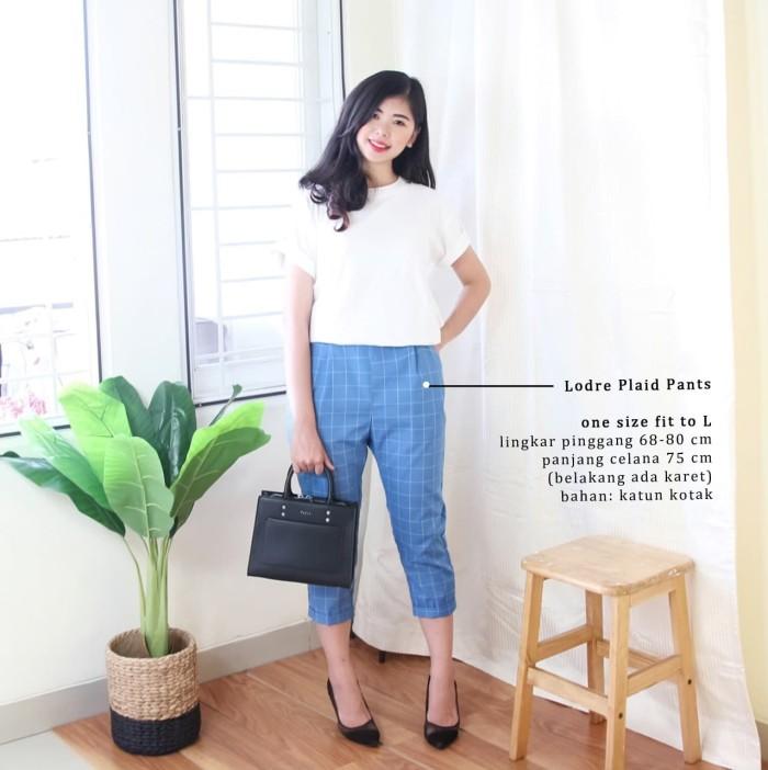 Celana Kotak Wanita Korean Style / Lodre Plaid Pants - ELLIPSES.INC - Biru Muda