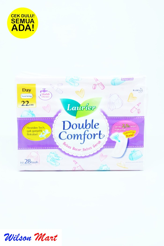 LAURIER DOUBLE COMFORT DAY NON WING 22 CM 28 PADS