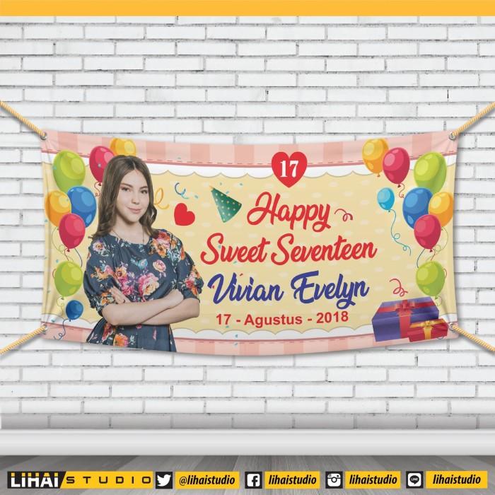 Backdrop Background Banner Spanduk Ultah Sweet Seventeen X