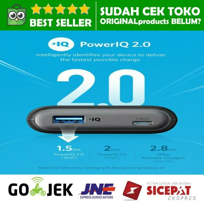 Powerbank anker powercore ii 10000mah quick charge 3.0 poweriq 2.0 ori
