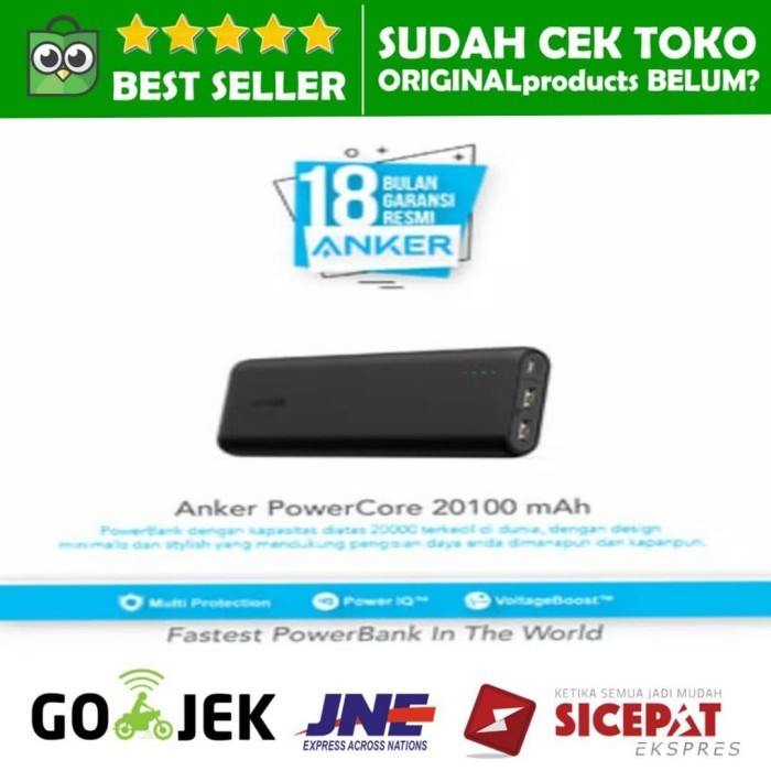 Powerbank anker powercore 20100mah dual port ultra high fast charging