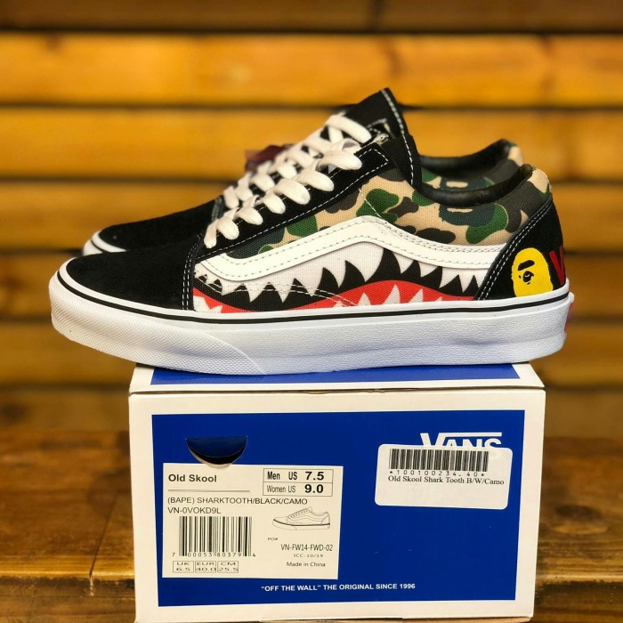 3ecf994921199d Jual Sepatu Vans Oldskool Bape Shark Mouth Camo Premium Waffle ICC ...