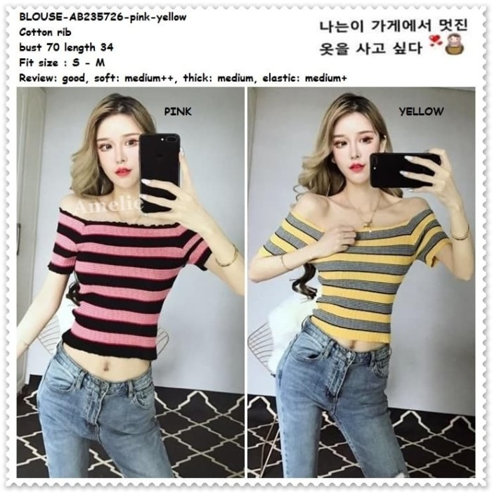 e71c52aba7daa2 Jual Baju Atasan Crop Top Sabrina Garis Blouse Wanita Korea Import ...