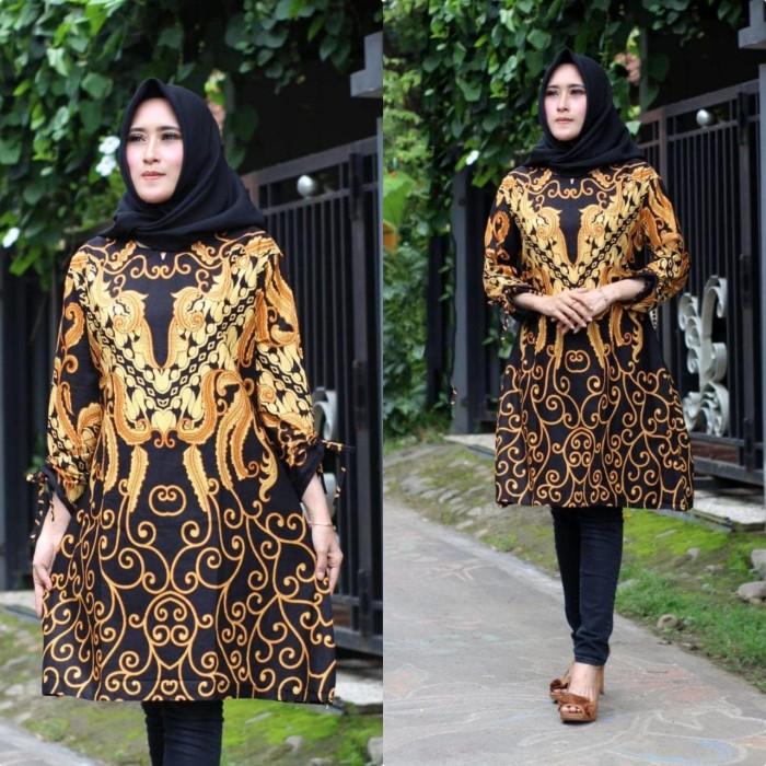 Jual Baju Atasan Tunik Batik Wanita Baju Batik Tunik Kantoran Murah Pcl14 Kota Pekalongan Rizquna Batik Exclusive Tokopedia
