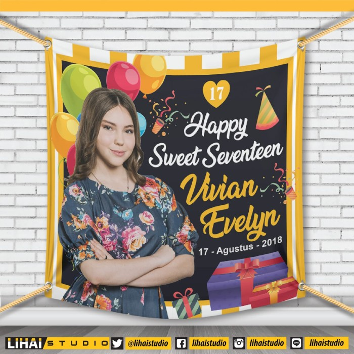 Backdrop Background Banner Spanduk Ultah Sweet Seventeen X