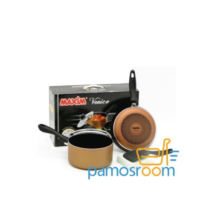 Maxim venice set (panci 17cm+ tutup kaca+ wajan 20cm+ spatula+ sponge)