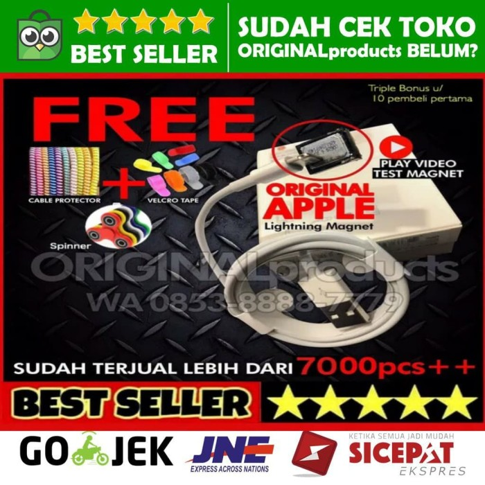 harga Cable kabel lightning iphone5 5s 6 6+ ipad mini iphone 5 6s + original Tokopedia.com