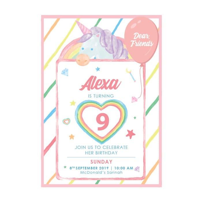 Jual Kartu Undangan Ulang Tahun Anak Birthday Invitation Premium Unicorn Kab Bogor Seasalt Print Desain Tokopedia