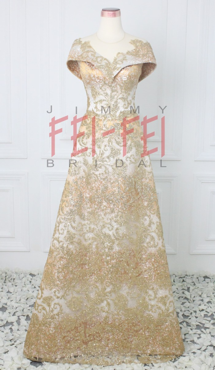 Jual Evening Gown Gaun Pesta Gaun Malam Dress Pesta Gold Gliter