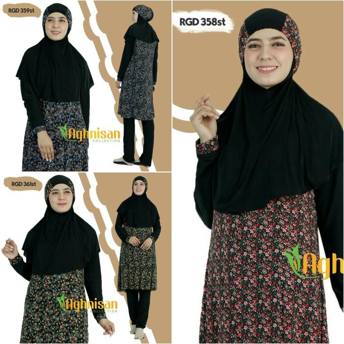 Size M Baju Renang Wanita Muslimah Aghnisan - Hitam Polka
