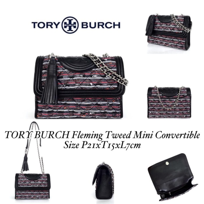 fdd340b30147 Jual TORY BURCH Fleming Tweed Mini Convertible - Toko feli