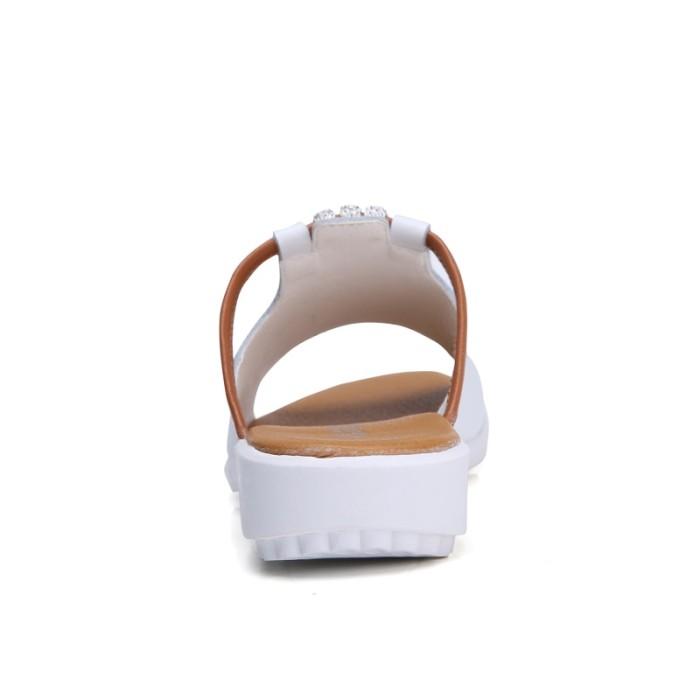 Jual O16U Women Slipper Shoes Genuine Leather Slide Shoes Ladies ... d6e57282e150